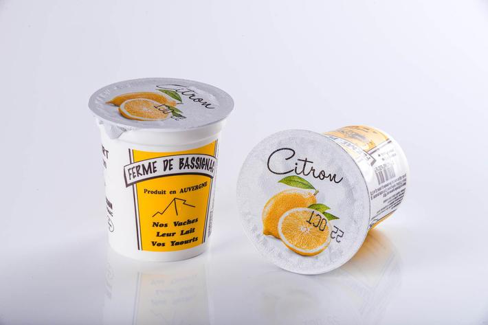 Yaourts citron avec morceaux de fruits par 4