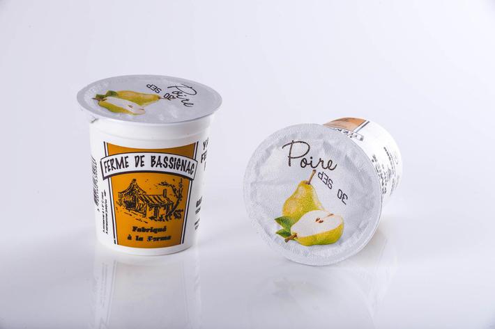Yaourts poires avec morceaux de fruits par 4